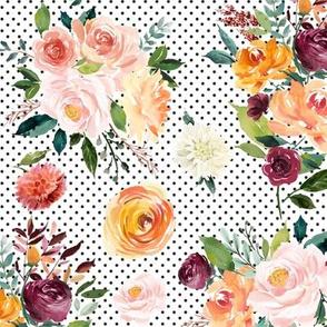 """Hallie Floral Bouquets on Black Dots 12"""""""