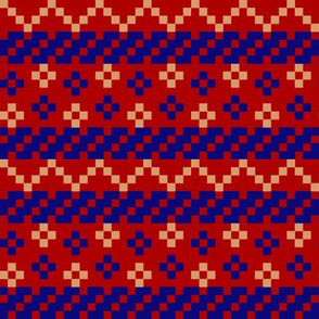 knit red blue