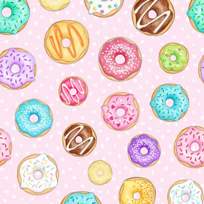 Scattered Rainbow Donuts on pale spotty pink - large scale