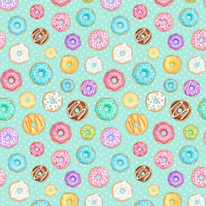 Scattered Rainbow Donuts on mint spotty