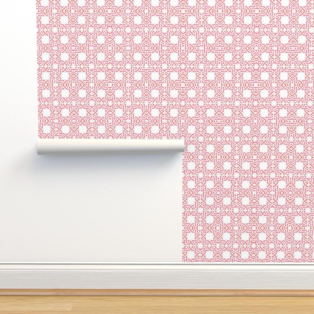Isobar Durable Wallpaper featuring Pink orange tiles links modern tile pink trellis by mlags