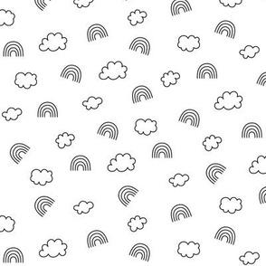 panda dreams rainbows + clouds black and white small