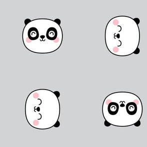 panda dreams cheeky panda faces on light grey