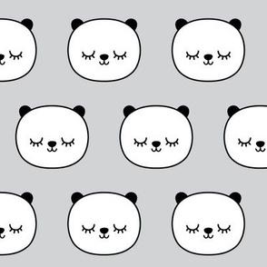 panda dreams panda sleepy faces on light grey