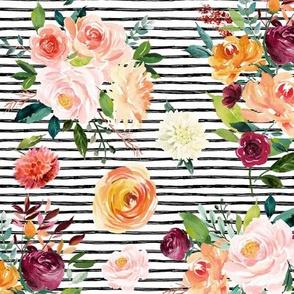 "Hallie Floral Bouquets on Black Stripes 12"""