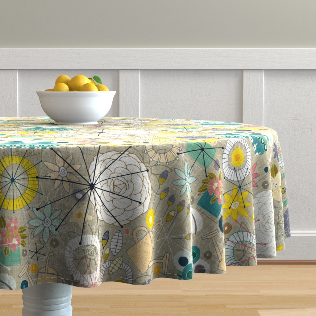 Malay Round Tablecloth featuring gardening blooms by scrummy