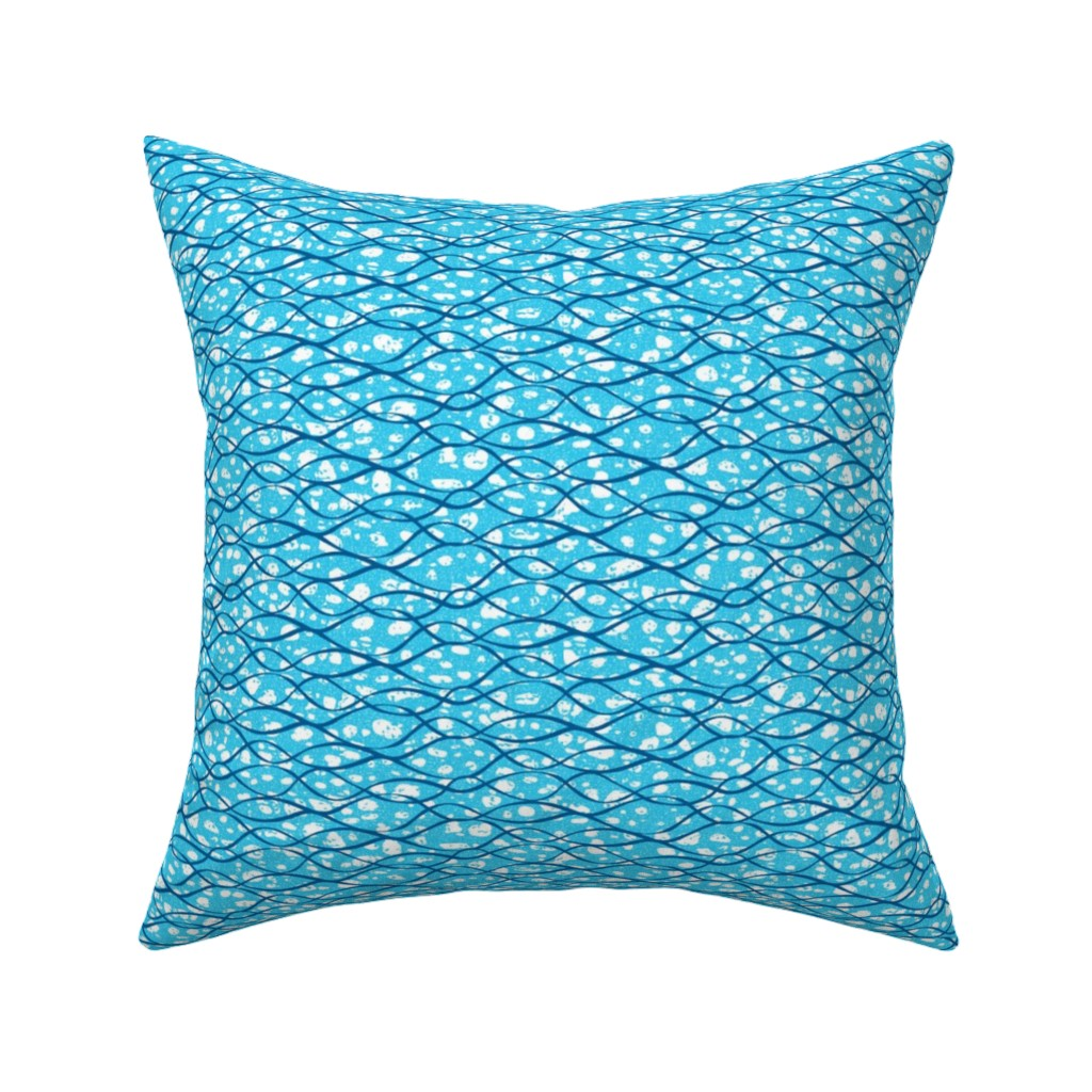 Catalan Throw Pillow featuring Blue waves-African by ottomanbrim