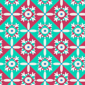 Diamond flower tiles teal red