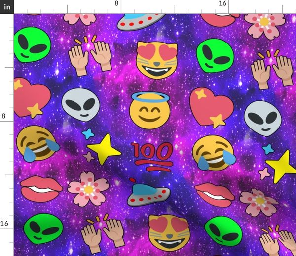 Fabric by the Yard 5 emoji aliens hearts stars smiling smiley faces angels  crying tears of joy laughing 100 lips mouths flowers floral sakura
