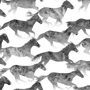 Running Watercolor Horses Ink Black