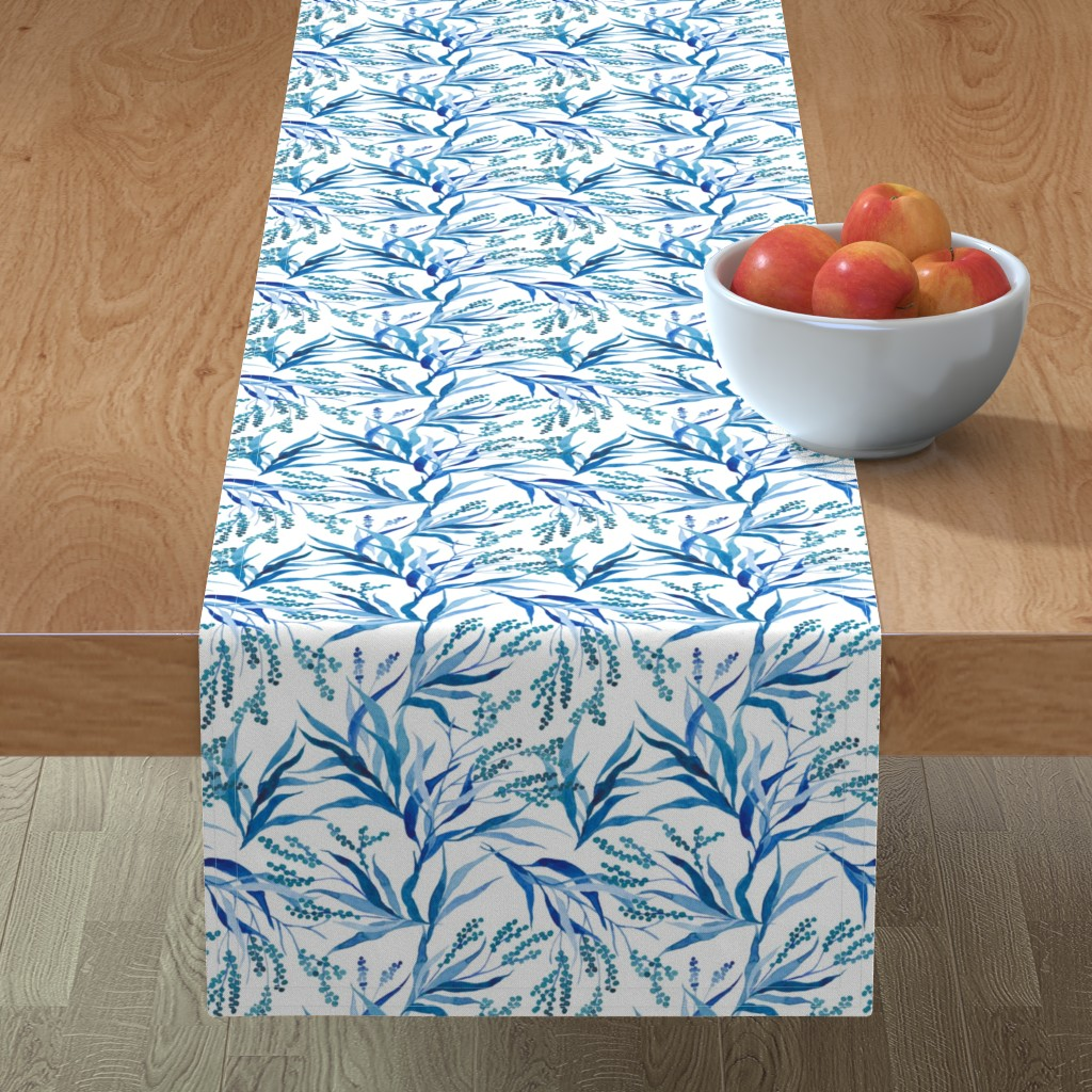 Minorca Table Runner featuring Blue floral watercolor branches by yashroom