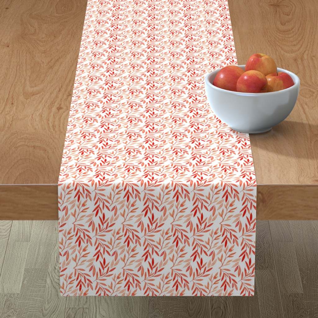 Minorca Table Runner featuring small watercolor autumn branches by yashroom