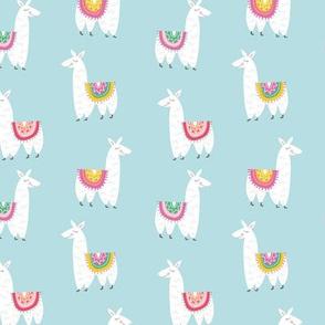 Llamas Alpacas in Blue