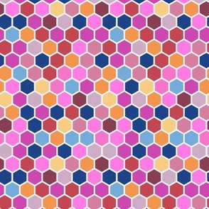 18-7AF Geometric Hexie Hexagon Candy Pink Orange Red Blue Spots Dots _ Miss Chiff Designs