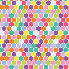 18-7AD Multi- Colored Rainbow Bright Spring Candy Colored Hexagon Hexie Spots Dots Orange Purple Blue Green Yellow Lime _ Miss Chiff Designs