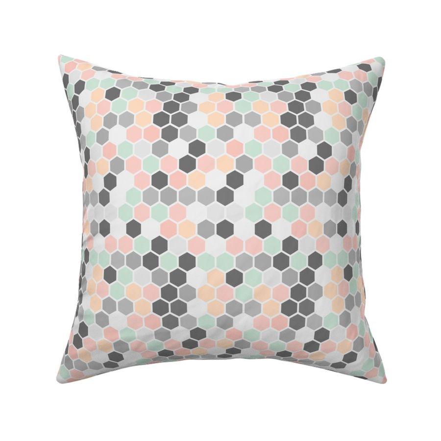 Enjoyable Colorful Fabrics Digitally Printed By Spoonflower 18 7Ac Hexagon Pastel Pink Peach Gray Grey Mint Green White Dots Machost Co Dining Chair Design Ideas Machostcouk