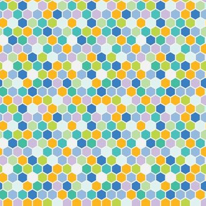 18-7AA Spring Hexagon Green Periwinkle Purple Lavender Tangerine Teal Grass Dots Spots _ Miss CHiff Designs
