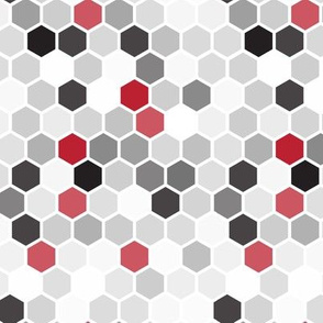 18-07Z Hexagon Red Black White Gray Dots