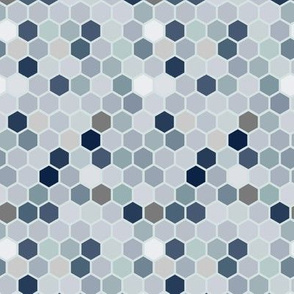18-07Y Hexagon Neutral  Gray Brown Blue