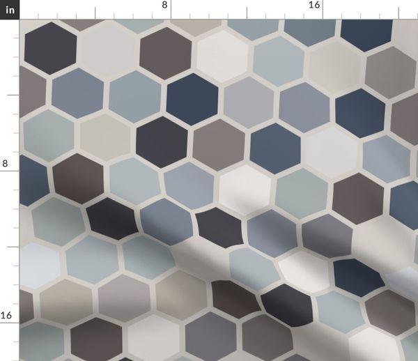 5aef09ac84 18-07V Hexagon Blue Gray Taupe Jumbo - Spoonflower