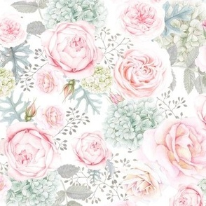 Light Pink and Mint Pale Watercolor Rose and Hydrangea Floral
