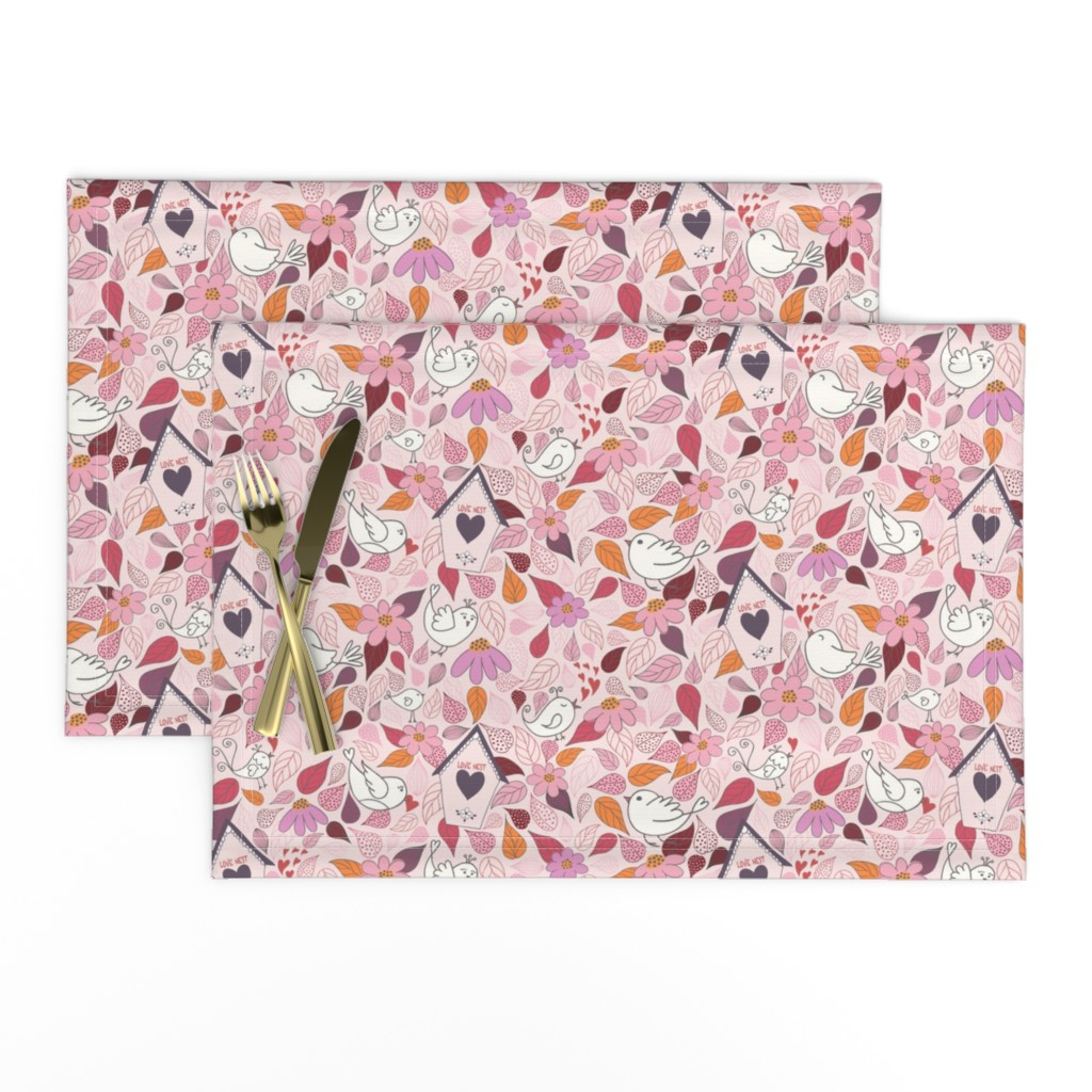 Lamona Cloth Placemats featuring Love nest PINK by vivdesign