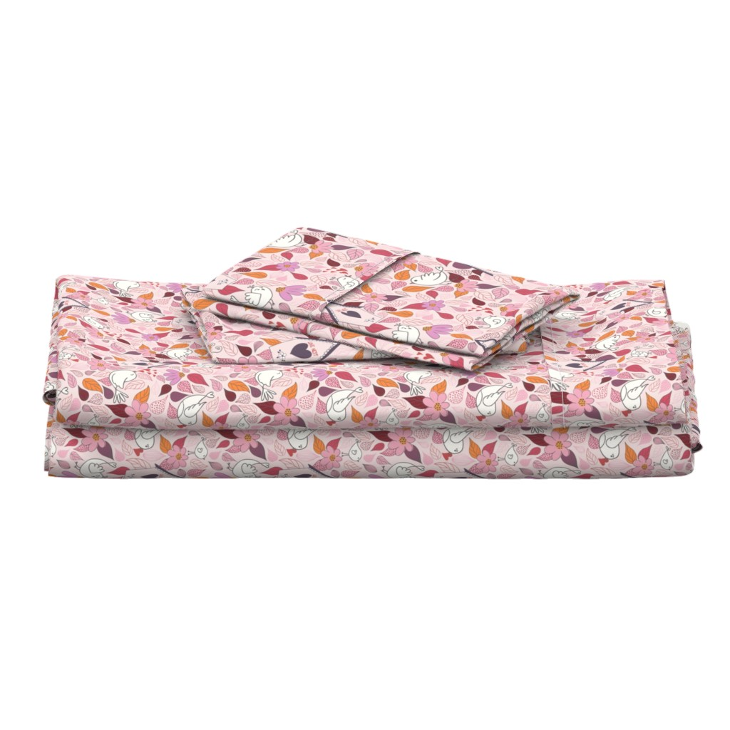 Langshan Full Bed Set featuring Love nest PINK by vivdesign