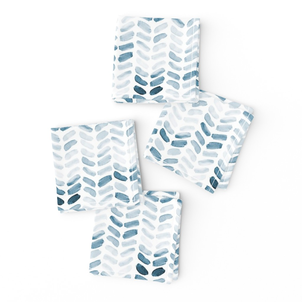 Frizzle Cocktail Napkins featuring Blue Watercolor Herringbone, vertical by laurapol