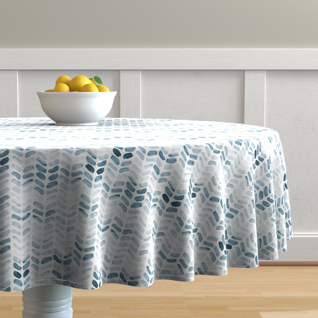 Malay Round Tablecloth featuring Blue Watercolor Herringbone, vertical by laurapol