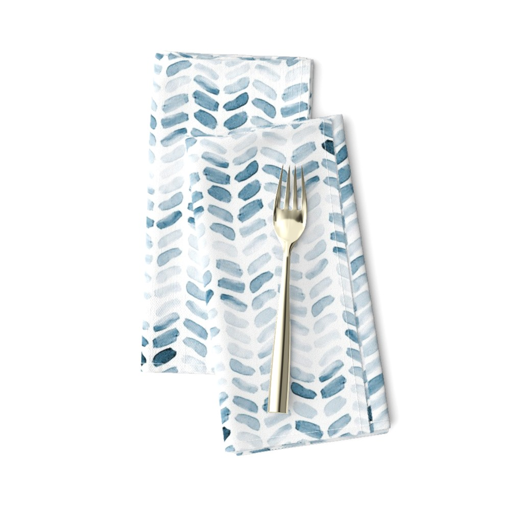Amarela Dinner Napkins featuring Blue Watercolor Herringbone, vertical by laurapol
