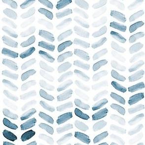 Blue Watercolor Herringbone, vertical
