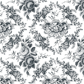 Lady Mary's Roses Black Floral Toile