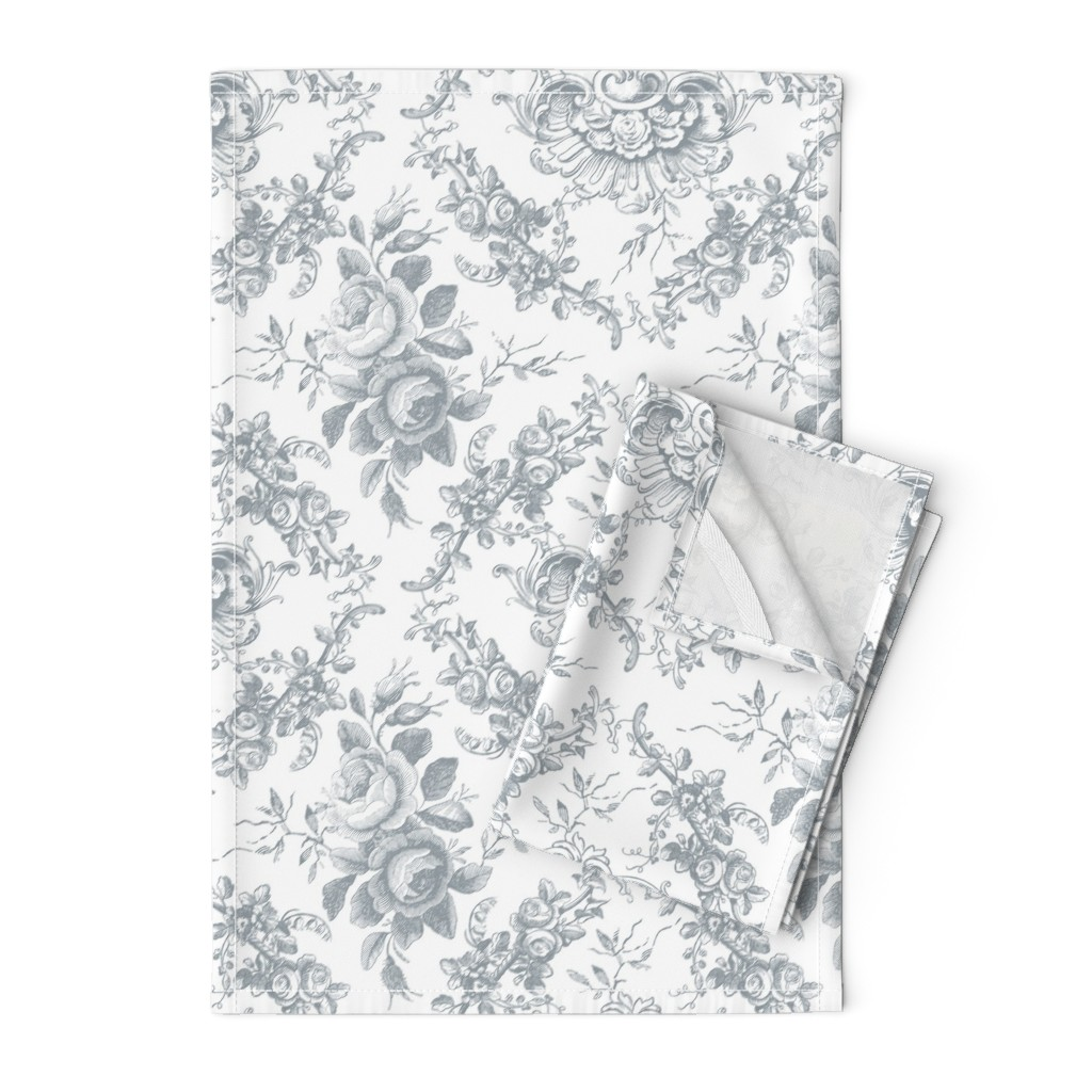 Orpington Tea Towels featuring Lady Mary's Roses Grey Floral Toile by grafixmom