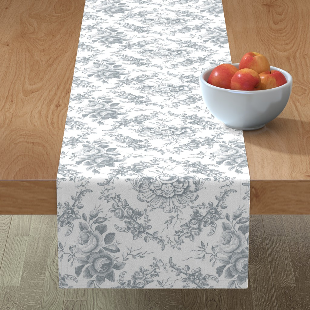 Minorca Table Runner featuring Lady Mary's Roses Grey Floral Toile by grafixmom