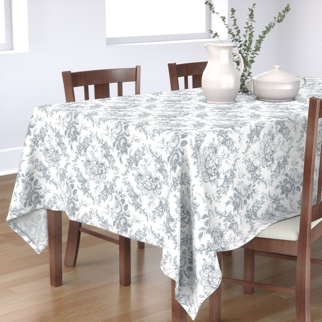 Bantam Rectangular Tablecloth featuring Lady Mary's Roses Grey Floral Toile by grafixmom