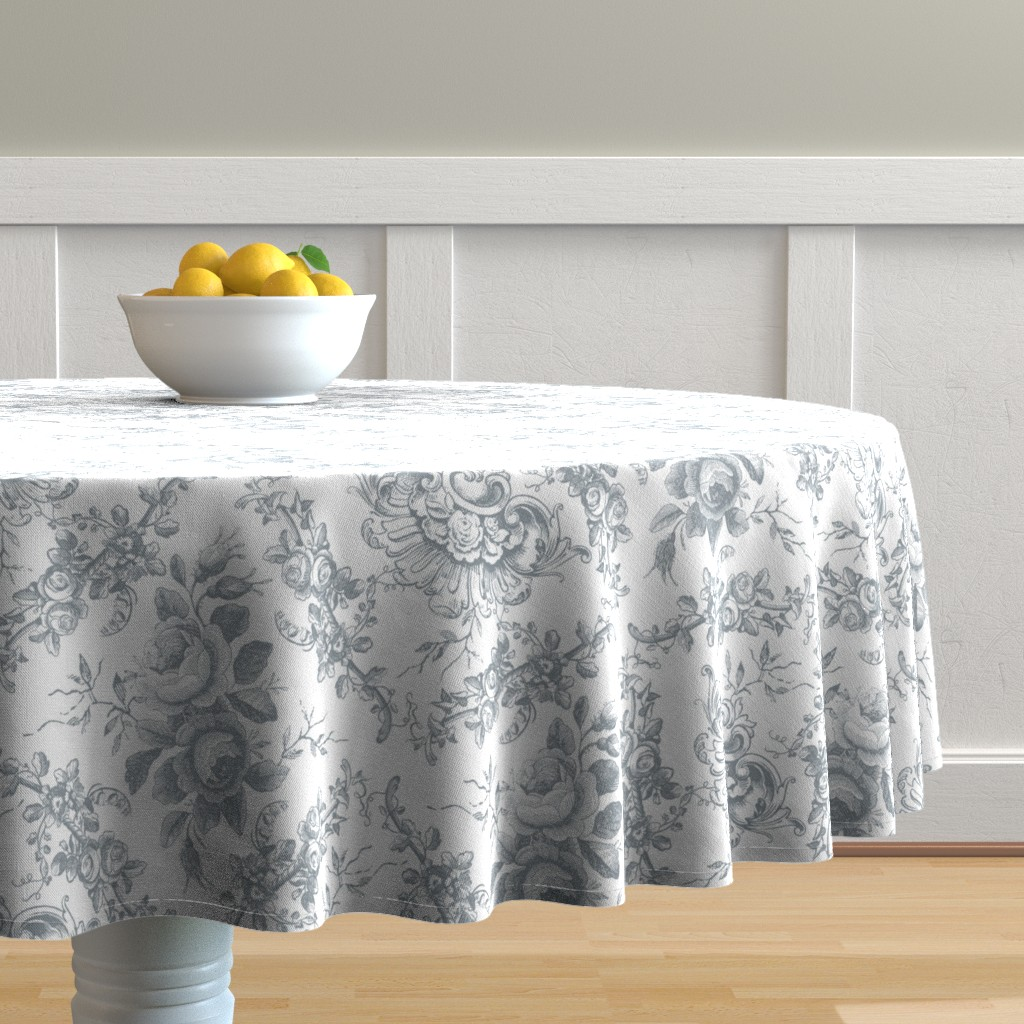 Malay Round Tablecloth featuring Lady Mary's Roses Grey Floral Toile by grafixmom