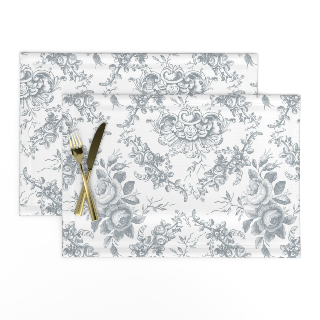 Lamona Cloth Placemats featuring Lady Mary's Roses Grey Floral Toile by grafixmom