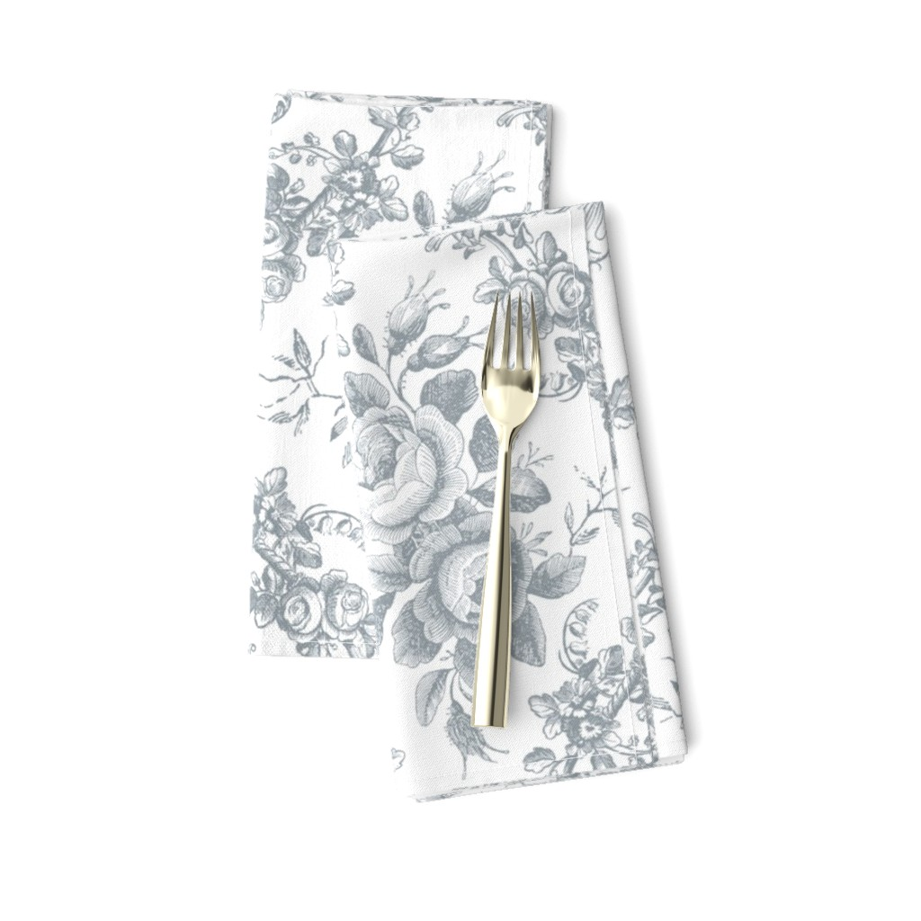 Amarela Dinner Napkins featuring Lady Mary's Roses Grey Floral Toile by grafixmom