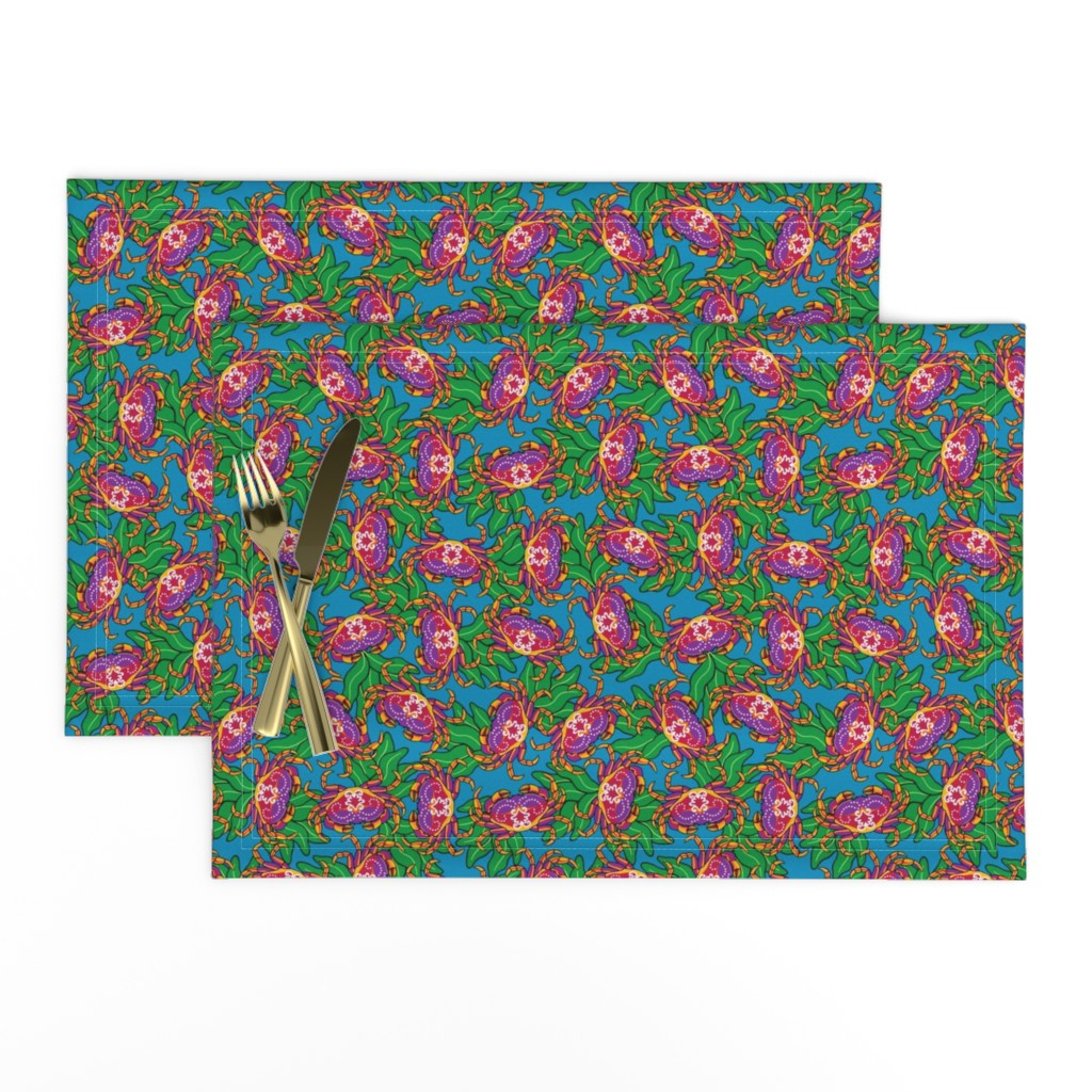 Lamona Cloth Placemats featuring Dazzling Crabs by willowbirdstudio