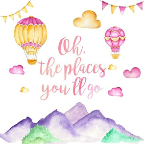 """12x12in """"Oh the Places"""" Pillow (girl version)"""