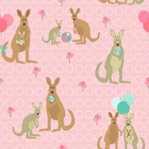 Kangaroos - pink & teal
