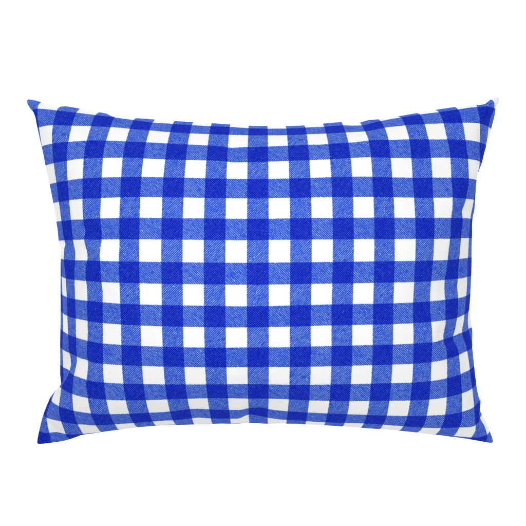 Campine Pillow Sham featuring blue textured gingham by ghouk