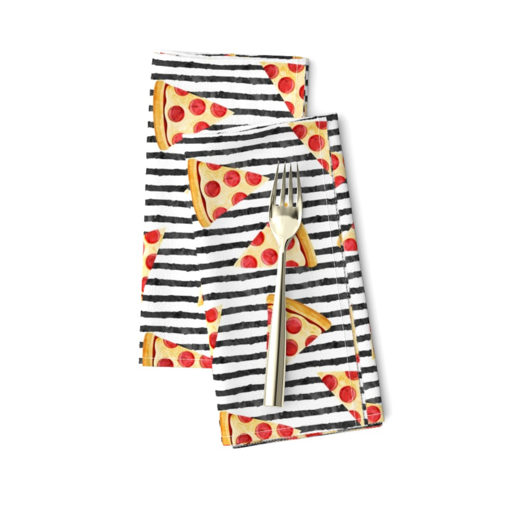 Amarela Dinner Napkins featuring pizza slice (black stripes) food fabric by littlearrowdesign