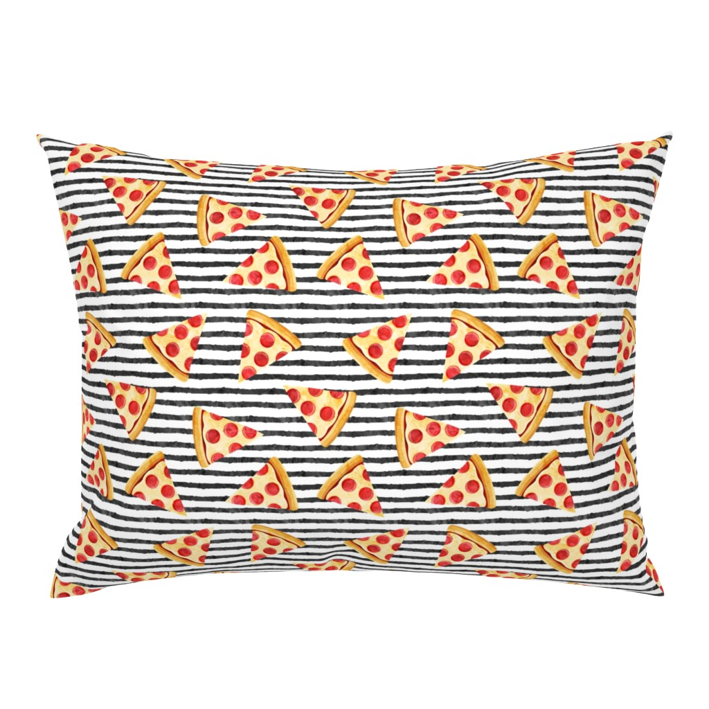 Campine Pillow Sham featuring pizza slice (black stripes) food fabric by littlearrowdesign