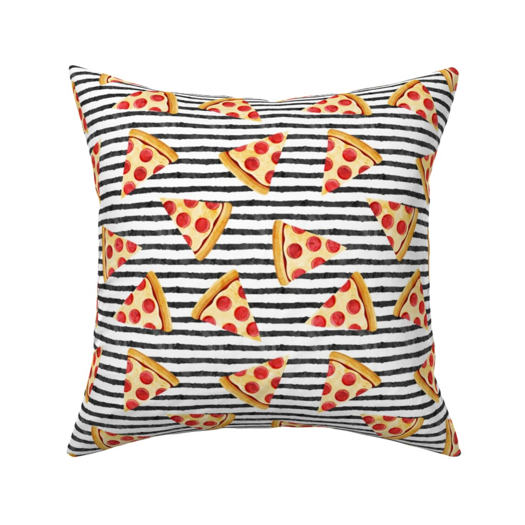 Catalan Throw Pillow featuring pizza slice (black stripes) food fabric by littlearrowdesign