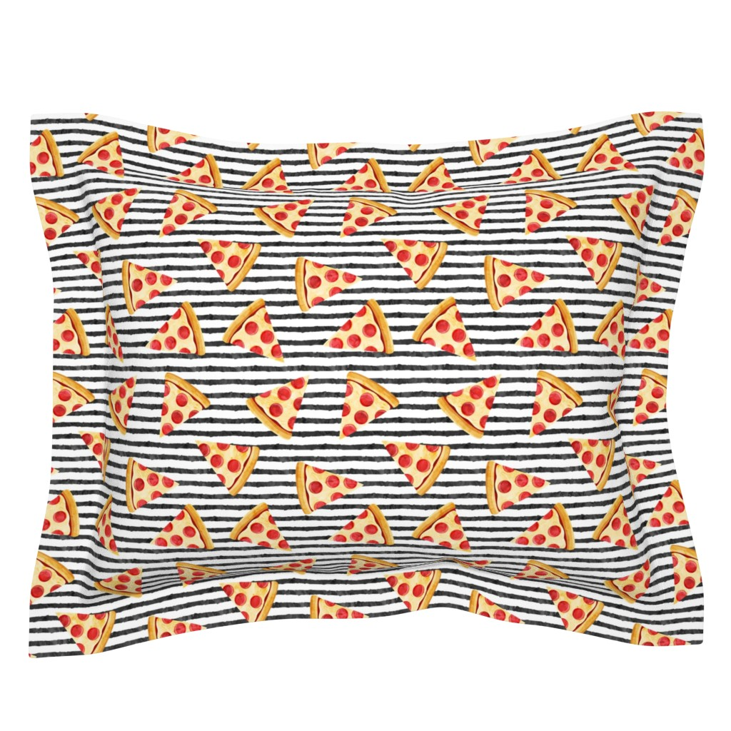 Sebright Pillow Sham featuring pizza slice (black stripes) food fabric by littlearrowdesign