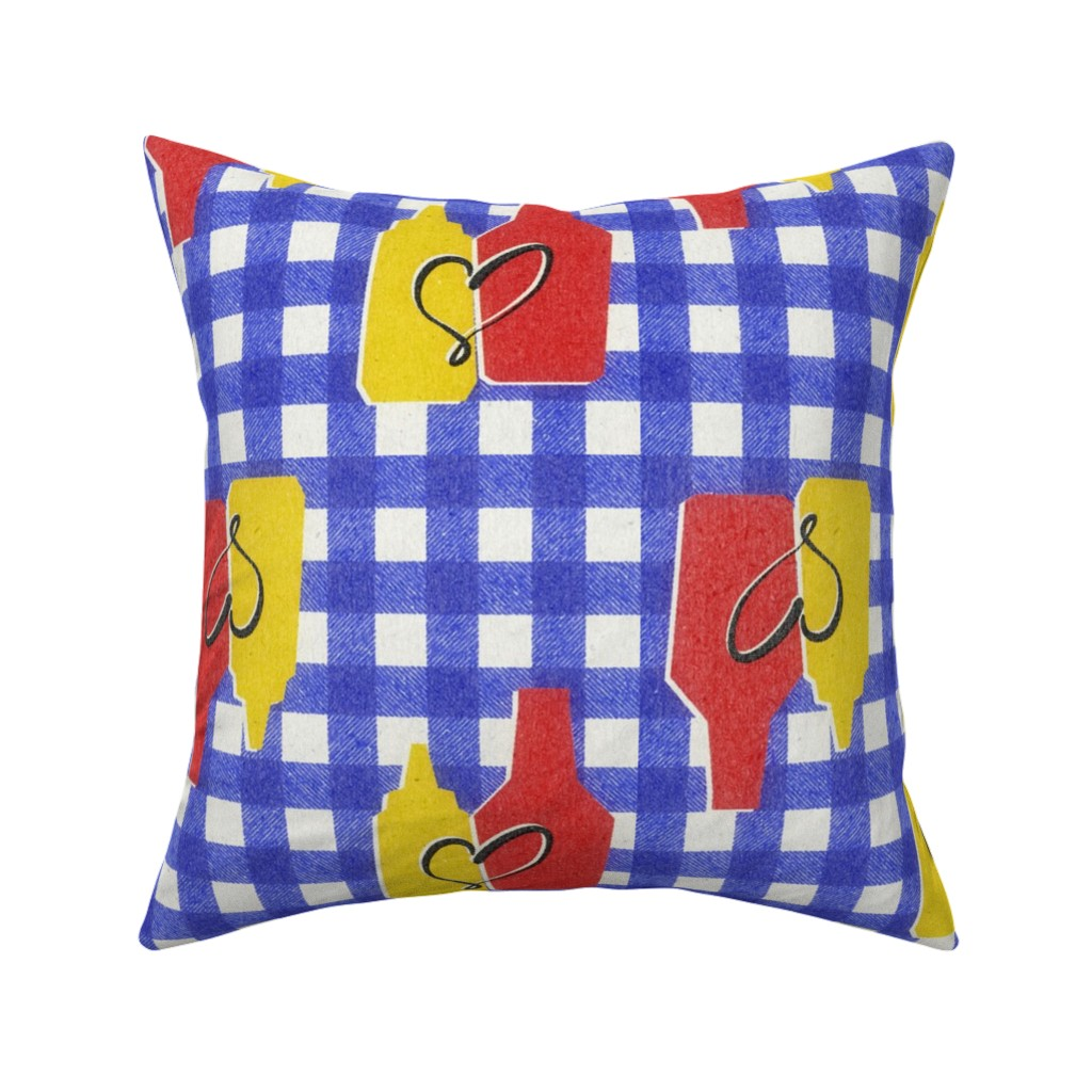 Catalan Throw Pillow featuring condiment love by ghouk
