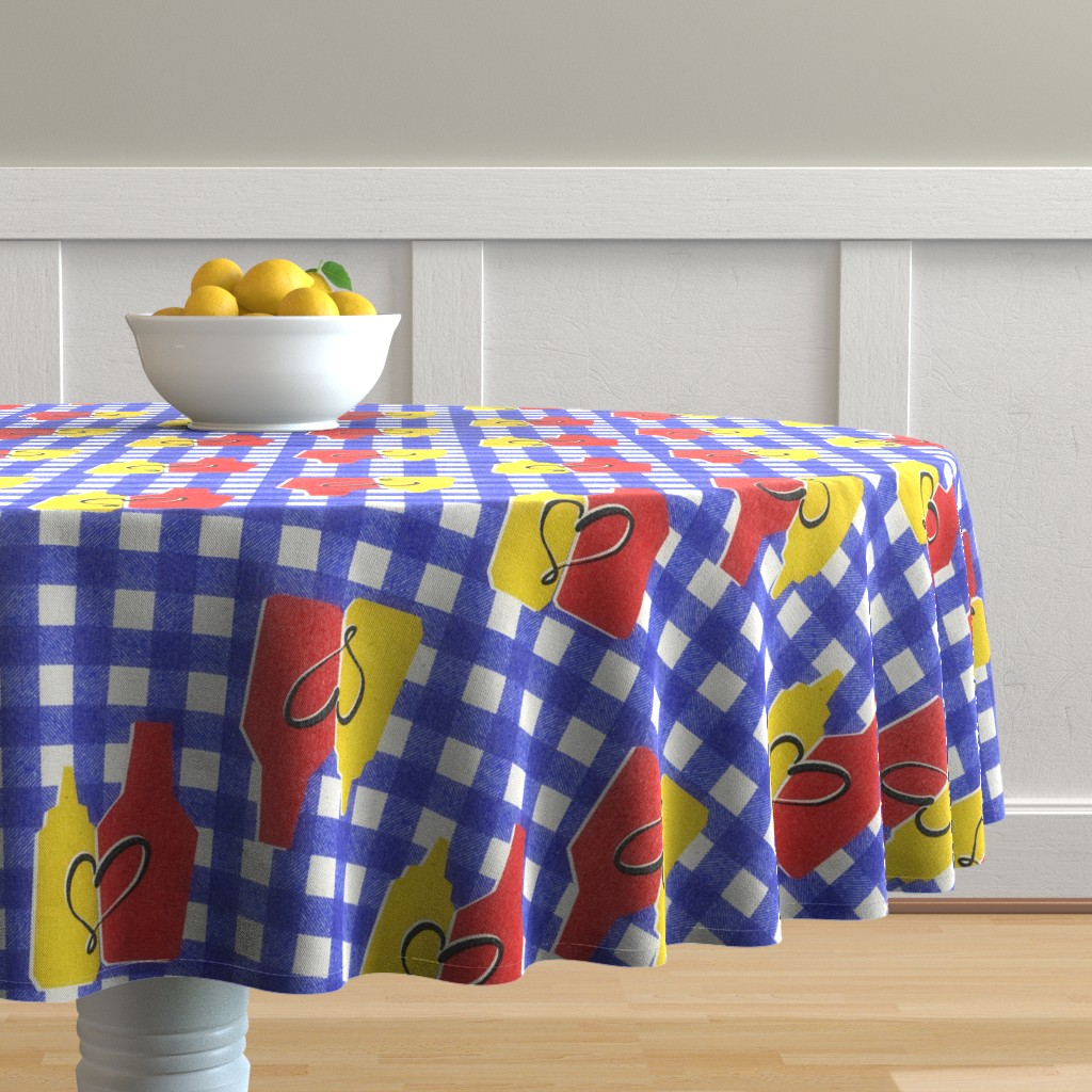 Malay Round Tablecloth featuring condiment love by ghouk