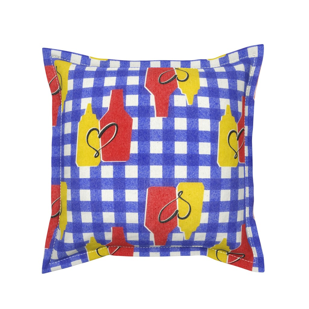 Serama Throw Pillow featuring condiment love by ghouk