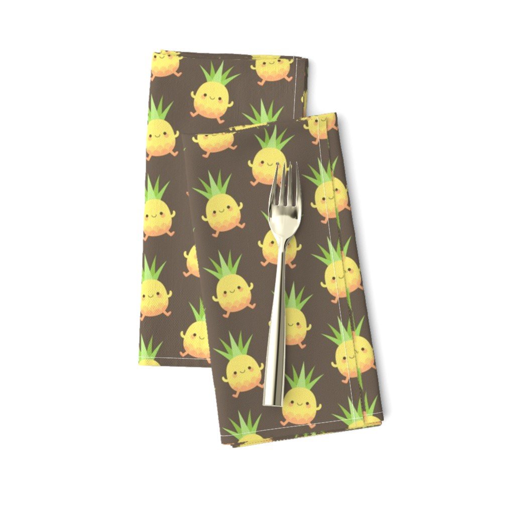 Amarela Dinner Napkins featuring Happy pineapple kids brown by petitspixels